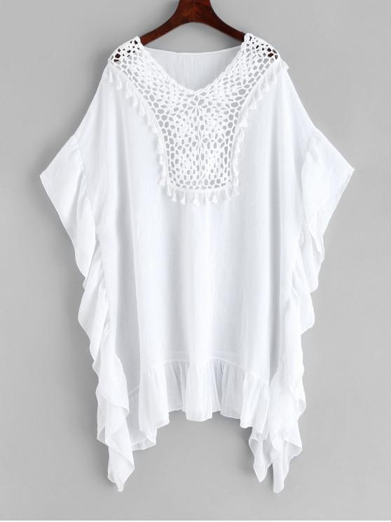 shop Tassels Crochet Panel Flounce Kaftan Dress - WHITE ONE SIZE