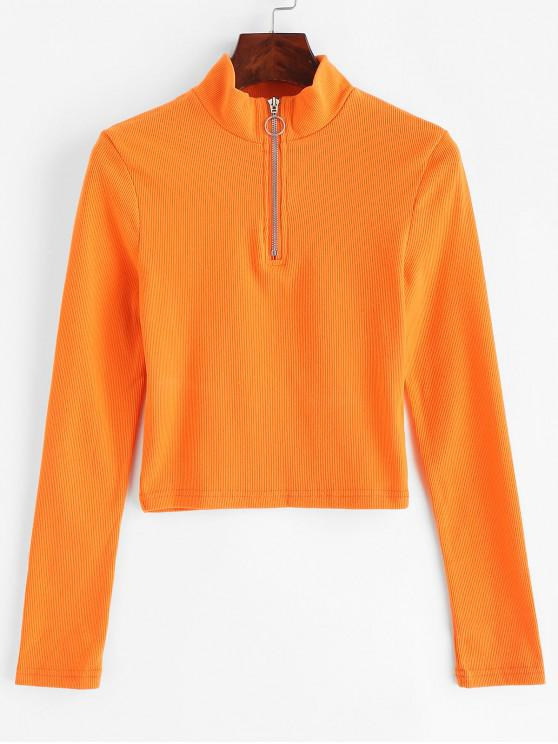 ladies Neon Half Zip Ribbed Top - BASKET BALL ORANGE L