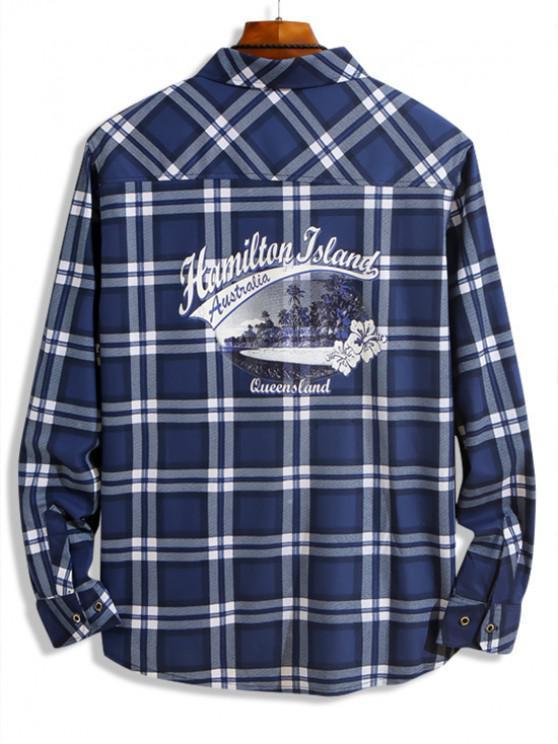 latest Hamilton Island Beach Scenery Plaid Print Chest Pocket Shirt - BLUE XS
