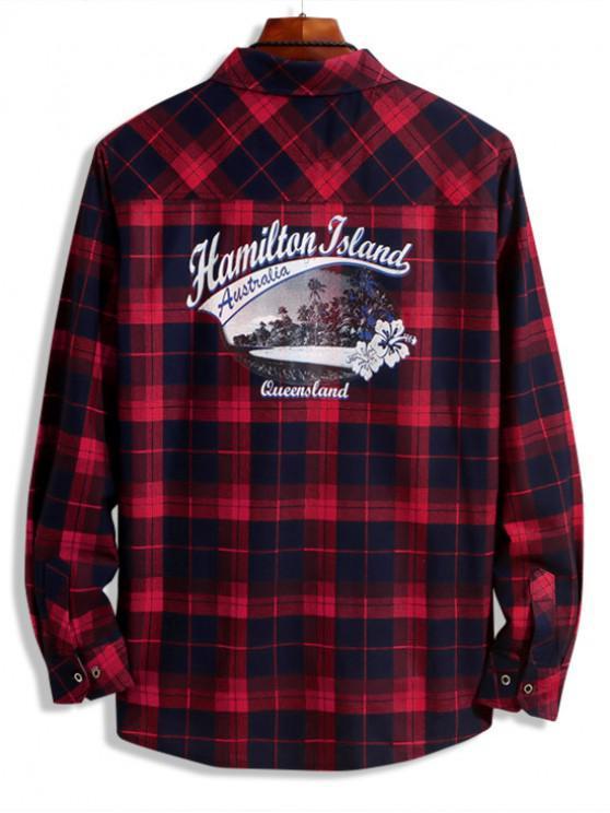fashion Hamilton Island Beach Scenery Plaid Print Chest Pocket Shirt - RED WINE XS
