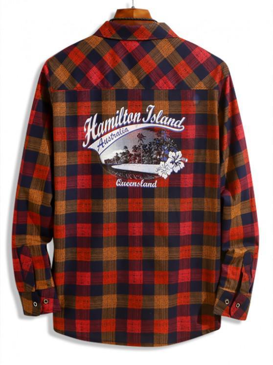 chic Hamilton Island Beach Scenery Plaid Print Chest Pocket Shirt - LAVA RED XS