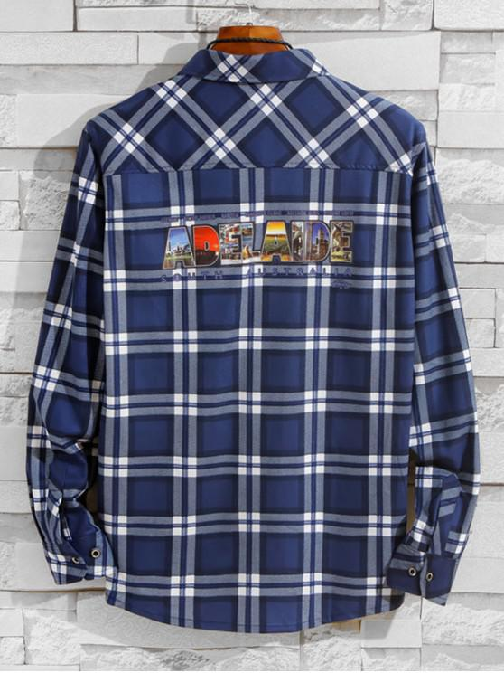 latest Australia Adelaide Pattern Letter Plaid Print Chest Pocket Shirt - BLUE XS