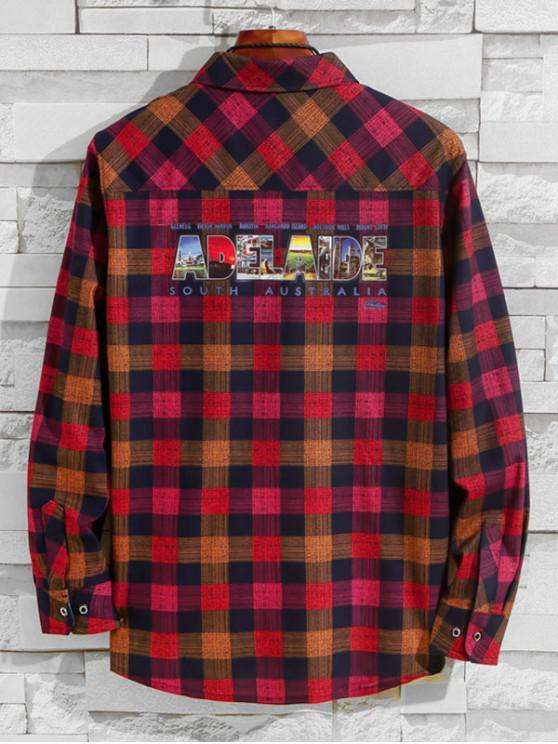 affordable Australia Adelaide Pattern Letter Plaid Print Chest Pocket Shirt - LAVA RED L