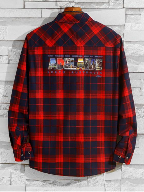 Australia Adelaide Pattern Letter Plaid Print pecho camisa de bolsillo - Vino Tinto XS