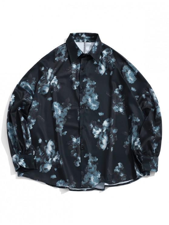 trendy Flower Print High Low Drop Shoulder Button Shirt - BLACK XL