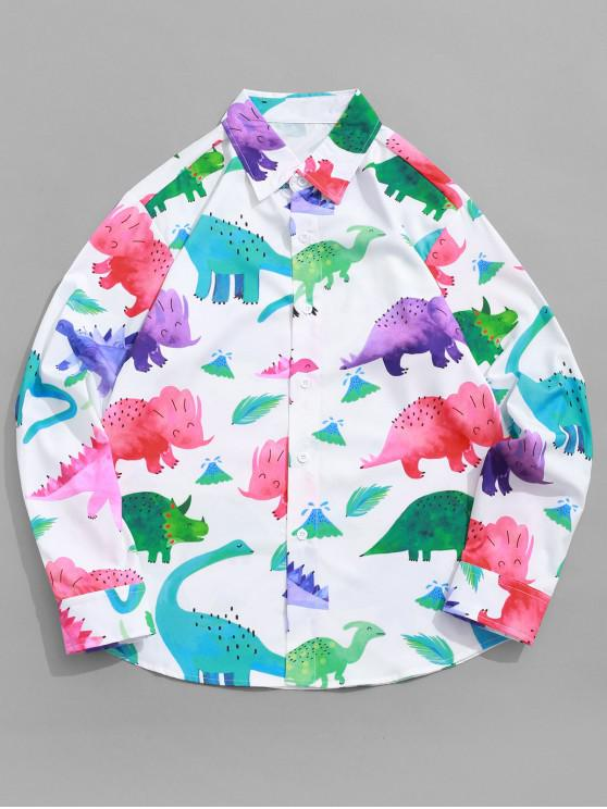 affordable Colored Cartoon Dinosaur Print Button Shirt - WHITE S