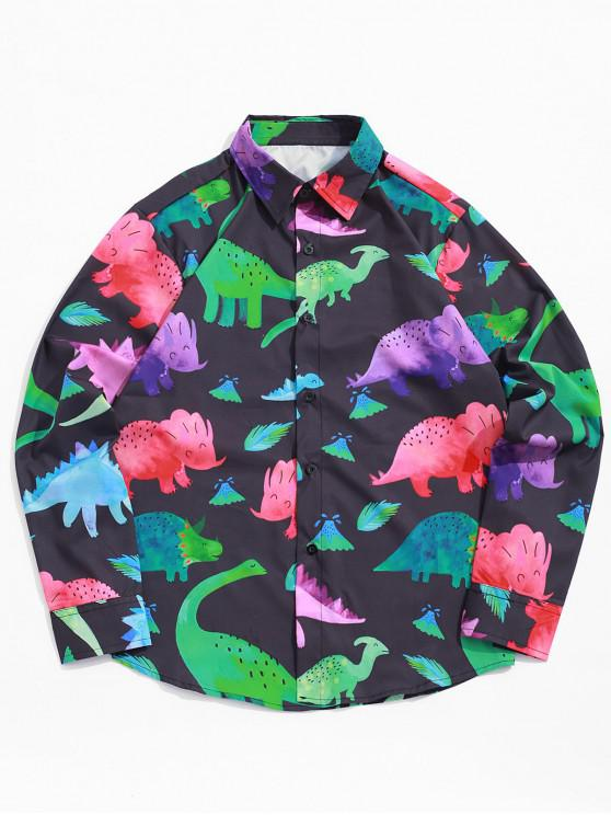 chic Colored Cartoon Dinosaur Print Button Shirt - BLACK S