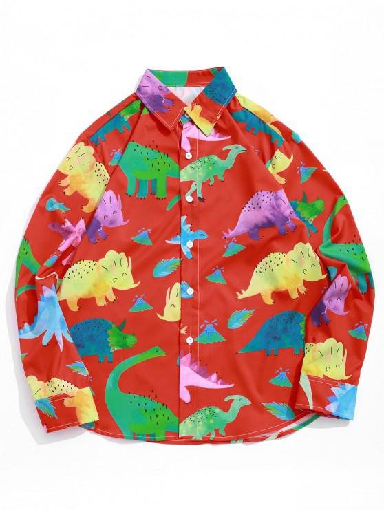 ladies Colored Cartoon Dinosaur Print Button Shirt - LAVA RED 2XL