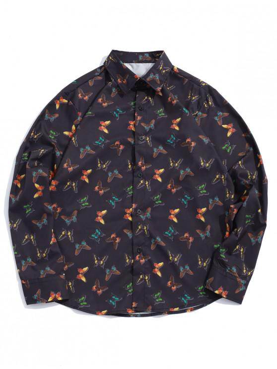 Рубашка С длинным рукавом Принт бабочки Пуговицы - Чёрный 2XL