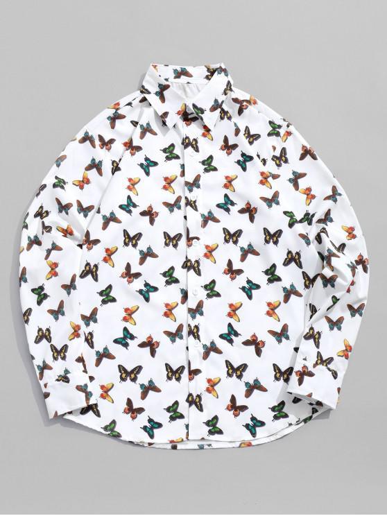 women Butterfly Allover Print Long Sleeve Button Shirt - WHITE 2XL