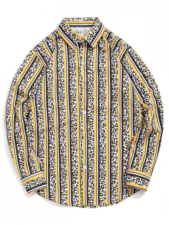 ladies Leopard Striped Colorblocking Print Casual Button Shirt - RUBBER DUCKY YELLOW S