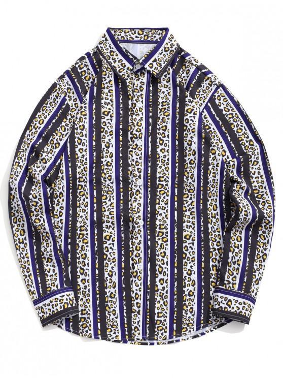 shop Leopard Striped Colorblocking Print Casual Button Shirt - BLACK S
