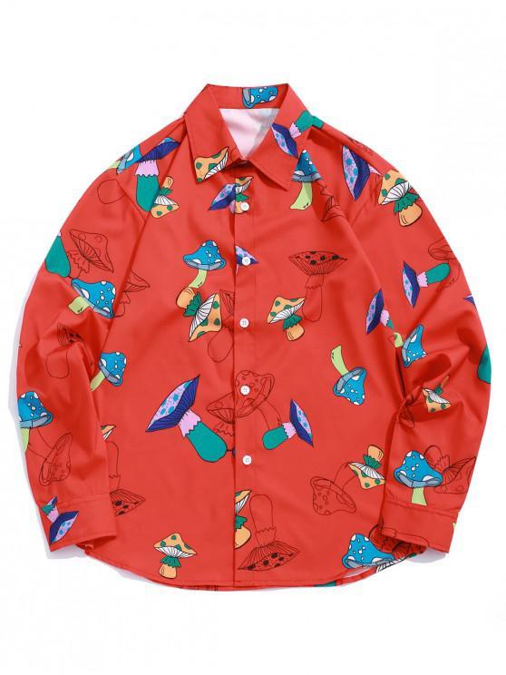 trendy Mushroom Print Button Up Long Sleeve Shirt - LAVA RED XL
