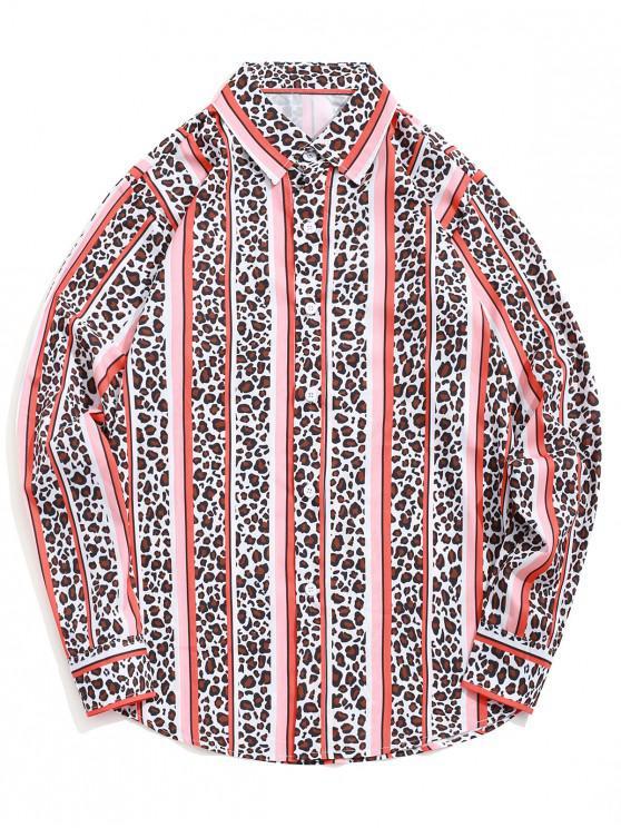 fashion Leopard Striped Colorblocking Print Casual Button Shirt - PUMPKIN ORANGE XL
