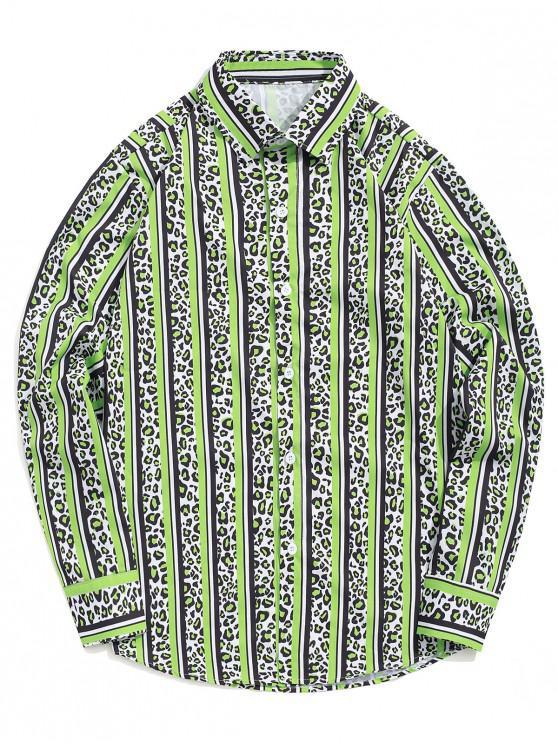 best Leopard Striped Colorblocking Print Casual Button Shirt - GREEN APPLE XL