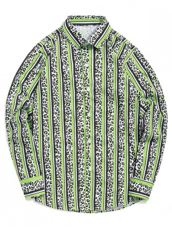 online Leopard Striped Colorblocking Print Casual Button Shirt - GREEN APPLE M