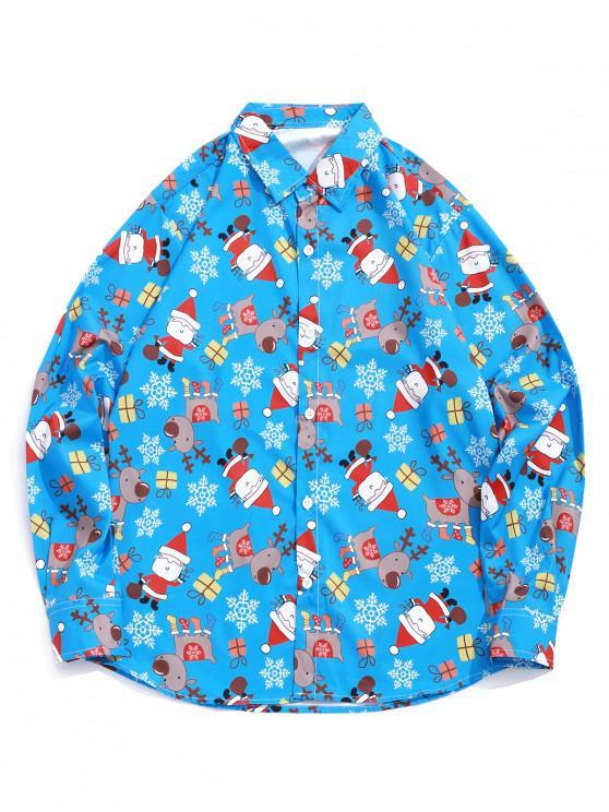 online Christmas Elements Snowflake Print Long Sleeve Button Shirt - OCEAN BLUE XL