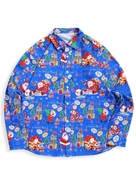womens Christmas Pattern Letter Graphic Allover Print Button Shirt - BLUEBERRY BLUE S