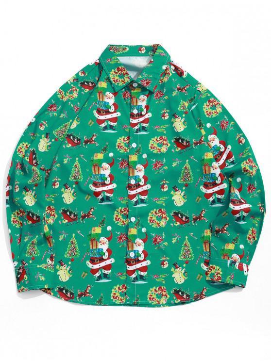 ladies Christmas Elements Santa Claus Candy Print Button Shirt - SEA TURTLE GREEN L