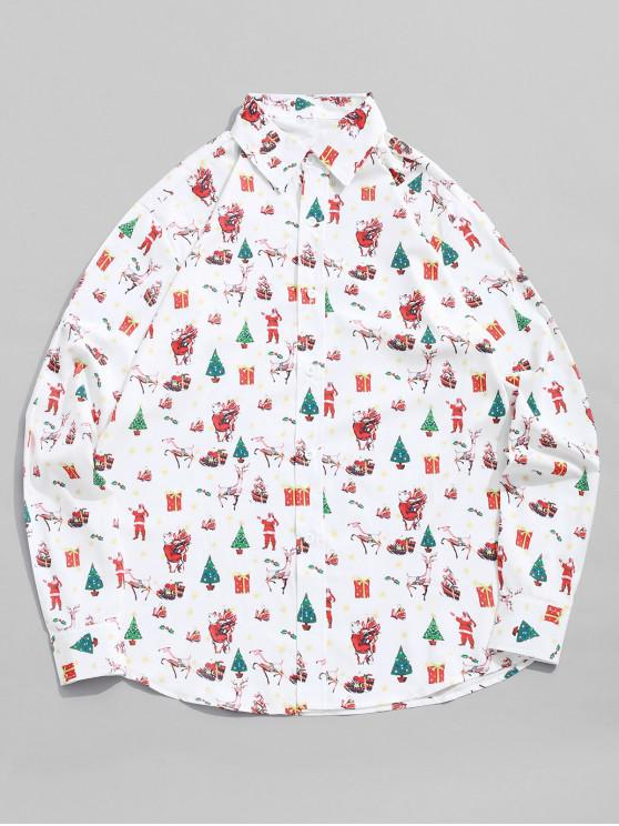 new Allover Elk Gift Tree Santa Claus Print Christmas Shirt - WHITE M