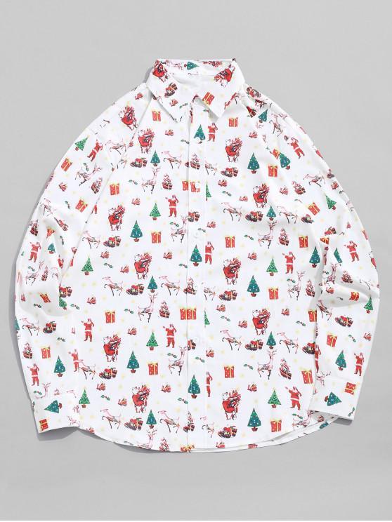 sale Allover Elk Gift Tree Santa Claus Print Christmas Shirt - WHITE S