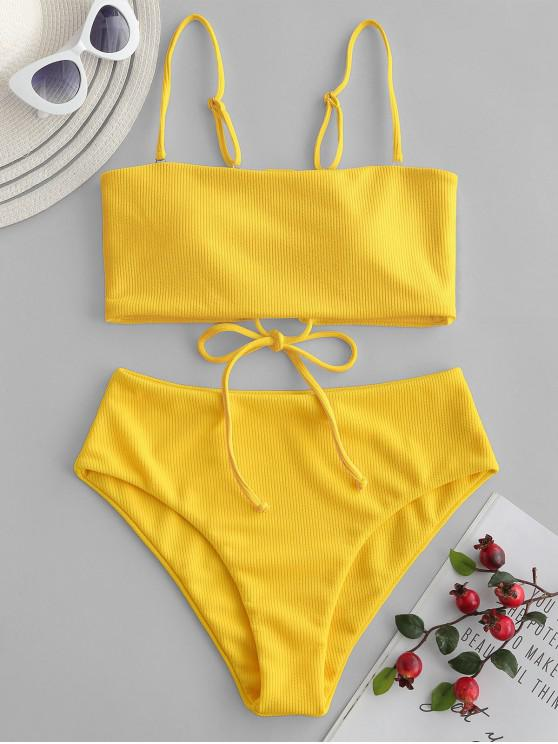 fashion ZAFUL Ribbed Lace-up Bandeau Bikini Swimsuit - YELLOW L