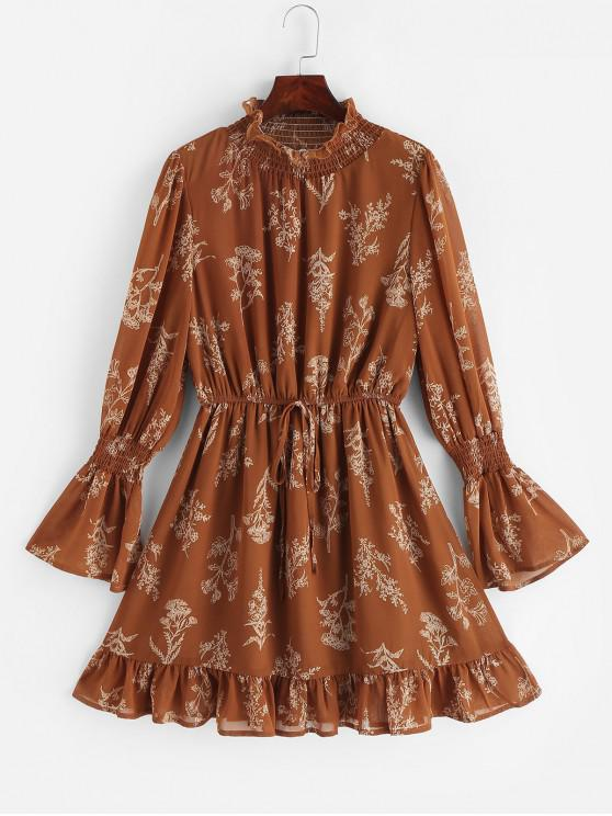 new ZAFUL Smocked Floral Print Mock Neck Dress - COFFEE XL