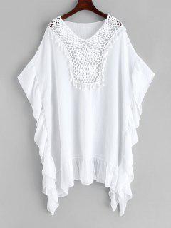 Robe Caftan Panneau Au Crochet à Frange à Volants - Blanc