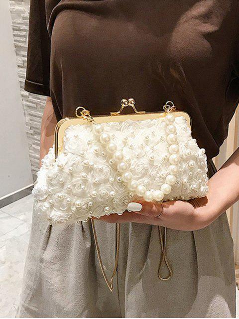 Sac Fourre-tout Fleuri Design en Fausse Perle - Blanc  Mobile