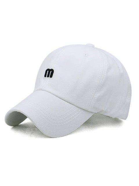 Casquette de Baseball Lettre M Brodée pour Extérieur - Blanc  Mobile