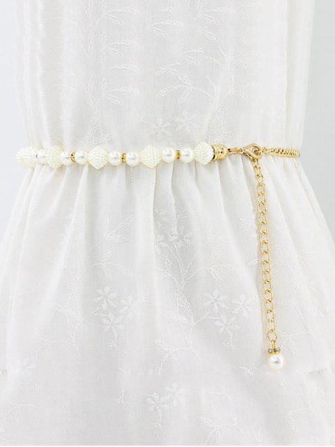 Chaîne de Taille Fausse Perle en Métal - Blanc  Mobile