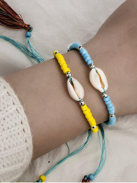 Bracelet de Plage Perle Coquille 2 Pièces - Jaune Soleil  Mobile