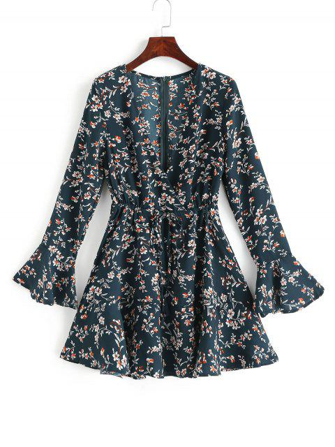 unique Tiny Floral Flare Sleeves Drawstring Surplice Dress - GREEN S Mobile
