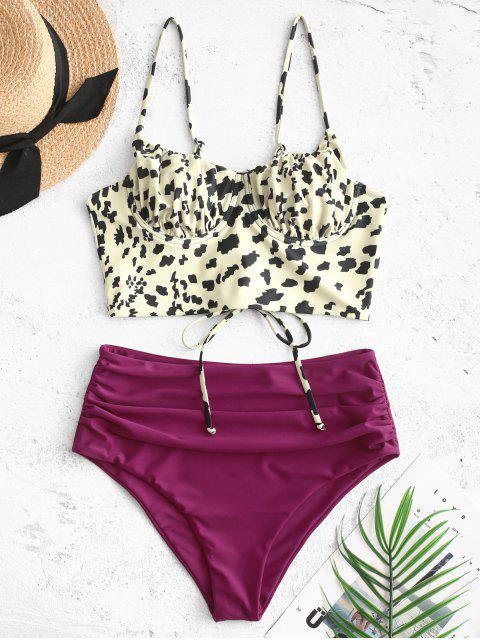 lady ZAFUL Leopard Lace-up Ruched Underwire Tankini Swimsuit - MAROON S Mobile