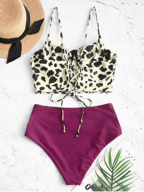 outfit ZAFUL Leopard Lace-up Ruched Underwire Tankini Swimsuit - MAROON M Mobile