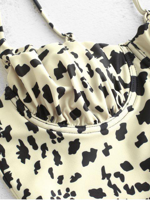 ZAFUL Leopardo con cordones con aros con aros Tankini traje de baño - Marrón L Mobile