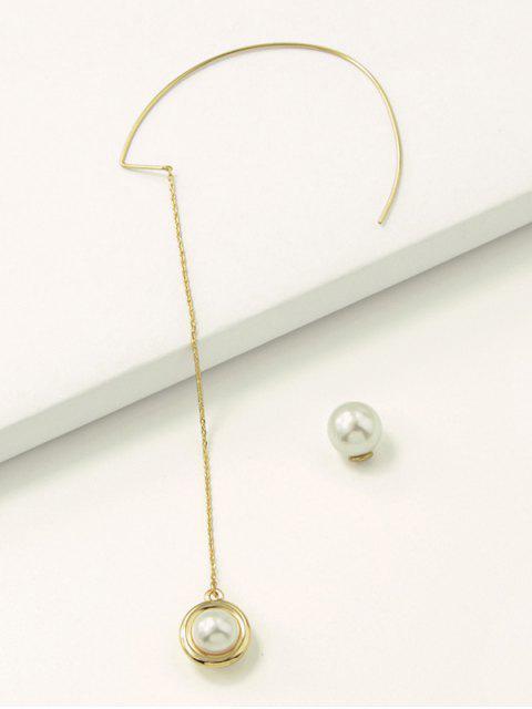 Искусственный жемчуг Длинные Цепные Серьги - Золотой  Mobile
