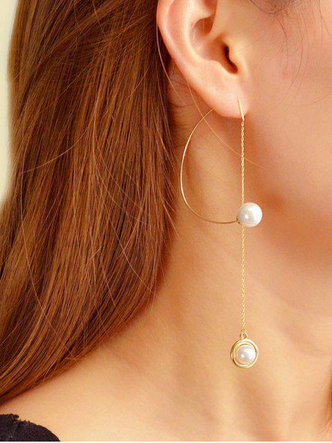 womens Single Faux Pearl Long Chain Earrings - GOLD  Mobile