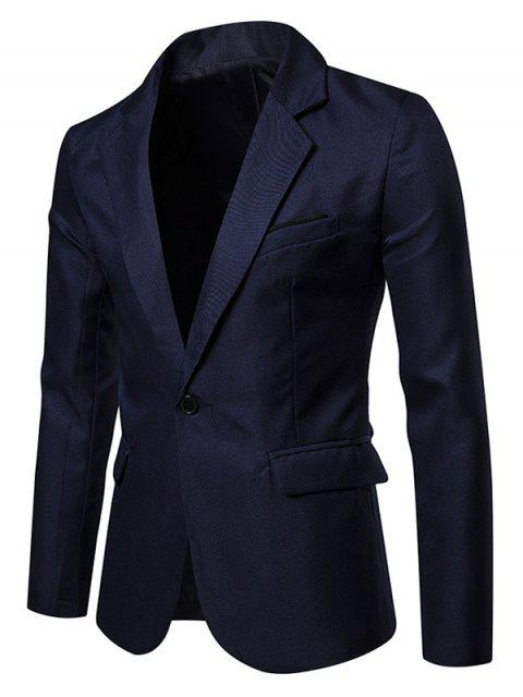 trendy Chest Faux Pocket One Button Side Slit Suit Jacket - MIDNIGHT BLUE S Mobile