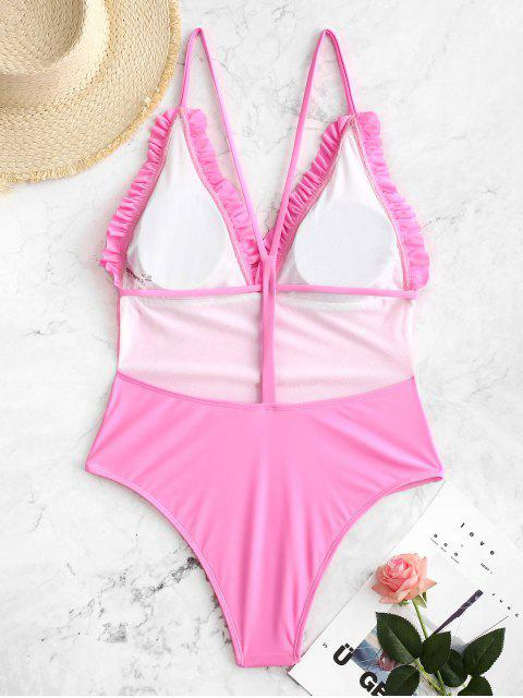 hot ZAFUL Neon Backless Frilled Y Line One-piece Swimsuit - HOT PINK S Mobile