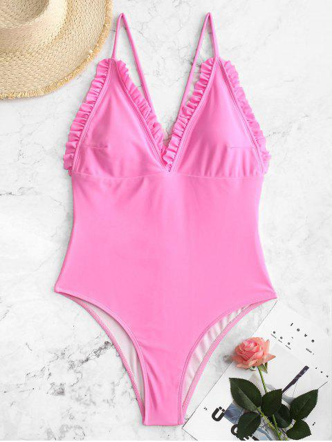 outfit ZAFUL Neon Backless Frilled Y Line One-piece Swimsuit - HOT PINK XL Mobile
