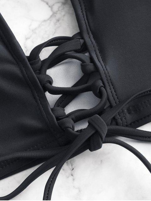 sale ZAFUL Dalmatian Dot Lace-up Tankini Swimsuit - BLACK M Mobile