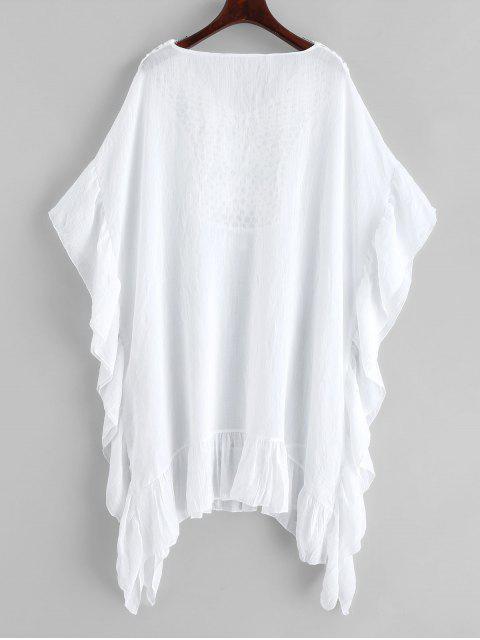 Robe Caftan Panneau au Crochet à Frange à Volants - Blanc Taille Unique Mobile
