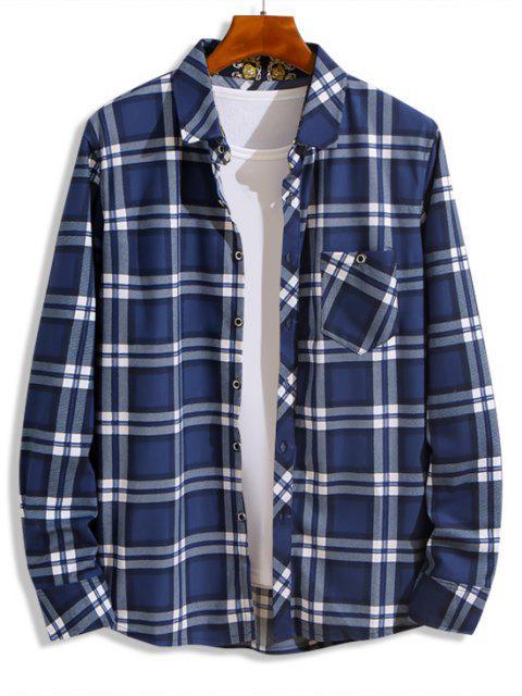 漢密爾頓島海灘風光格子印花胸前口袋襯衫 - 藍色 XS Mobile