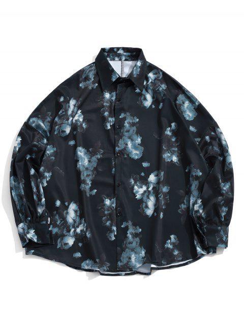 Camisa con botones y hombros descubiertos con estampado de flores - Negro XL Mobile