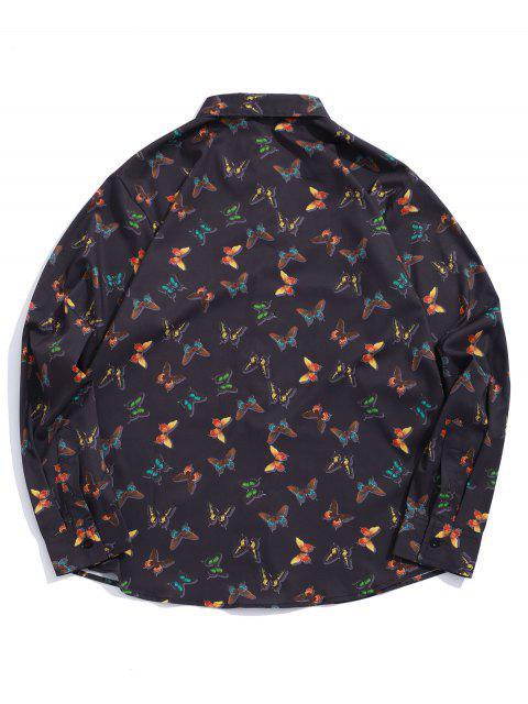 Mariposa Allover botón camisa de manga larga - Negro M Mobile