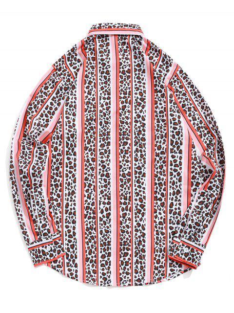 Leopardo de rayas contraste de colores impresión de la camisa botón casual - Naranja de Calabaza  XL Mobile