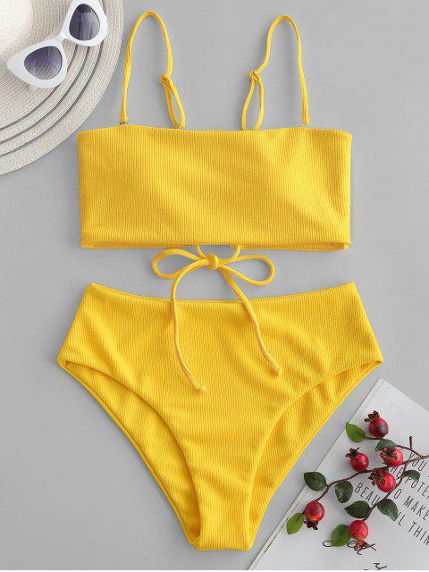 women ZAFUL Ribbed Lace-up Bandeau Bikini Swimsuit - YELLOW S Mobile