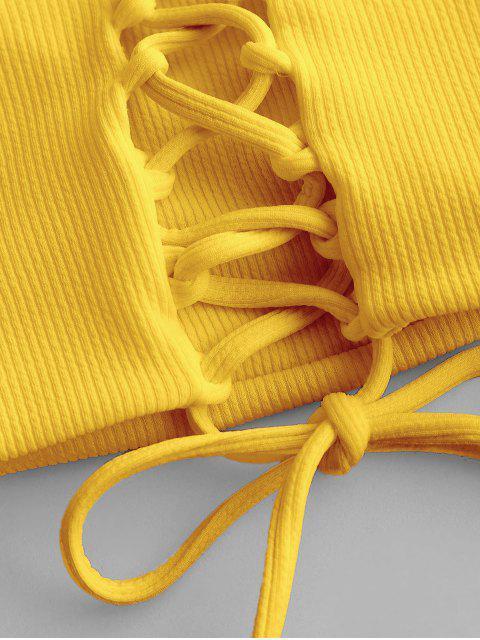 ZAFUL На шнуровке Бандо Рубчатое Бикини Купальник - Жёлтый S Mobile
