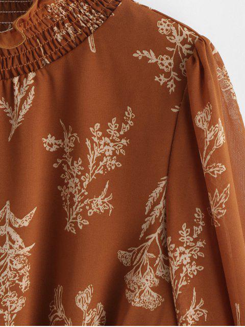 ZAFUL Robe Fleurie Imprimée à Col Montant à Volants - Café S Mobile